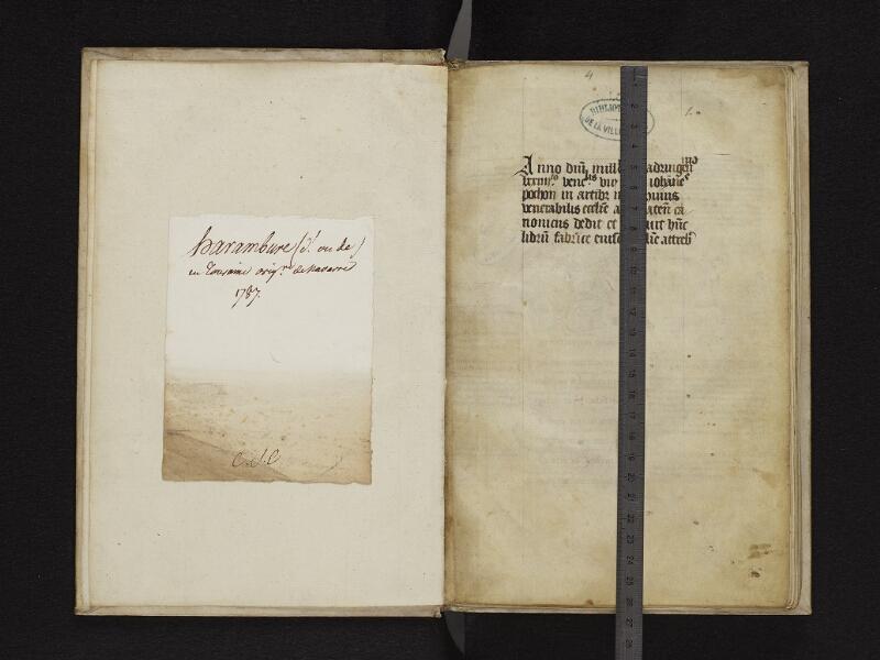ARRAS, Bibliothèque municipale, 1006 (0707), gardeA v - 001r réglé + feuille r