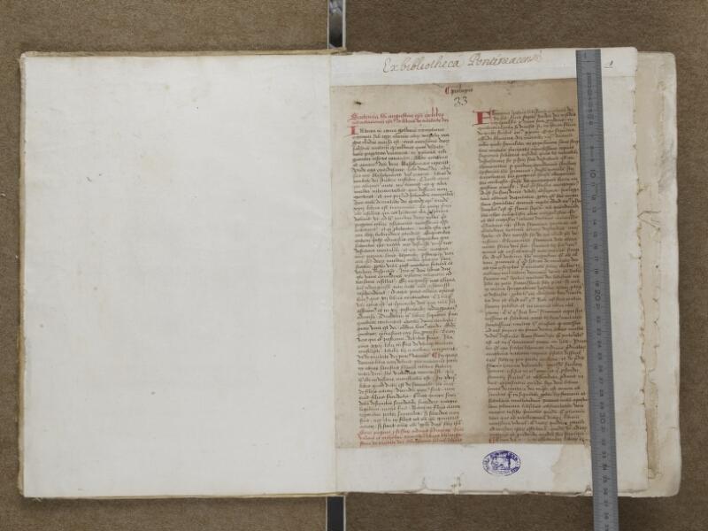 AUXERRE, Bibliothèque municipale, 018, Garde verso - f. 001 (avec réglet)