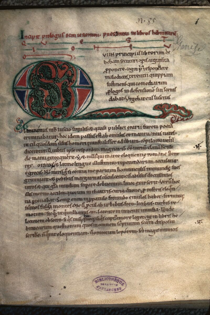 Avranches, Bibl. mun., ms. 0067, f. 001