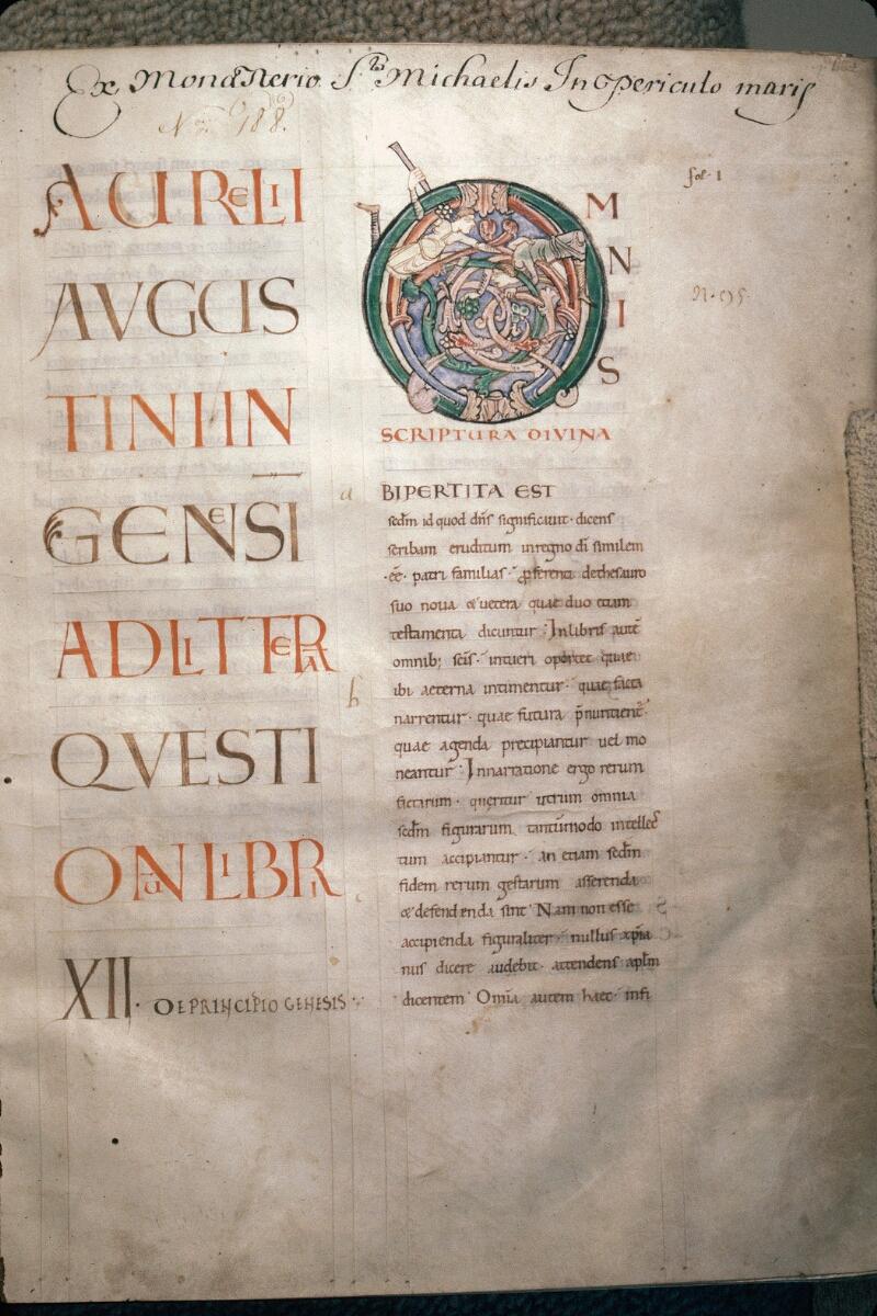 Avranches, Bibl. mun., ms. 0075, p. 001 - vue 1