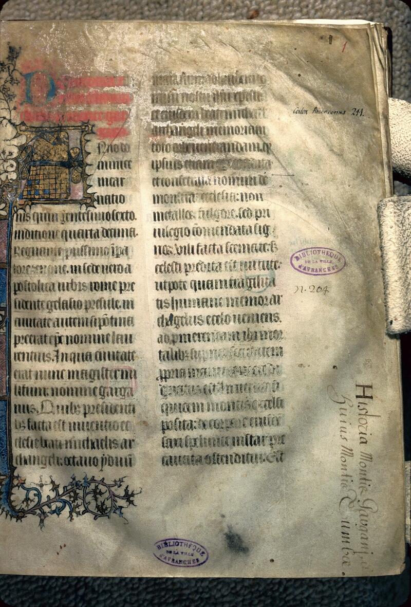 Avranches, Bibl. mun., ms. 0211, f. 001