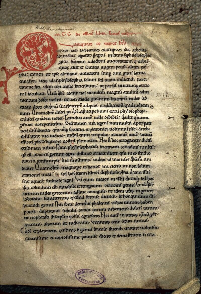 Avranches, Bibl. mun., ms. 0225, f. 001