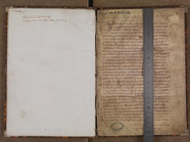 BOULOGNE-SUR-MER, Bibliothèque municipale, 0052, garde verso - f. 001r avec réglet
