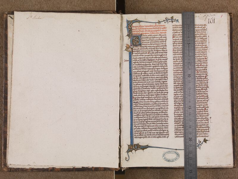 BOULOGNE-SUR-MER, Bibliothèque municipale, 0065, garde verso  - f. 001r avec réglet