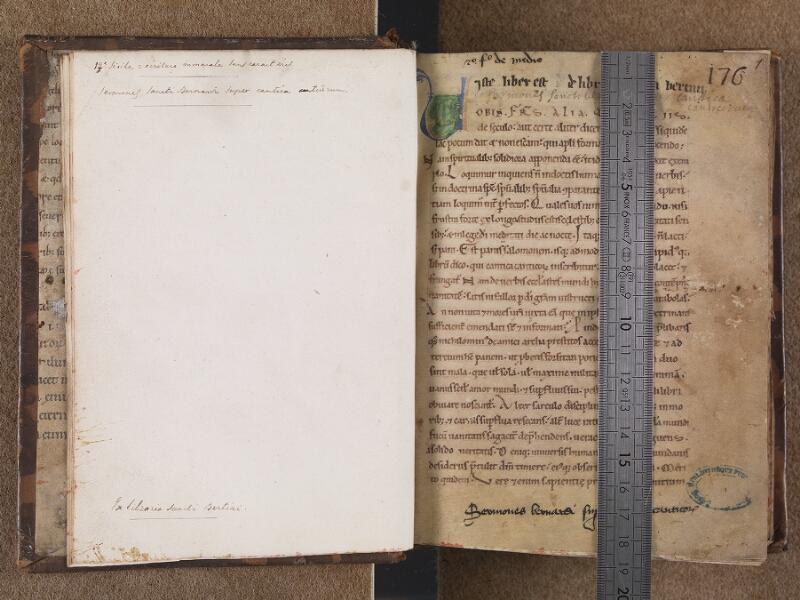 BOULOGNE-SUR-MER, Bibliothèque municipale, 0078, garde verso- f.001r avec réglet