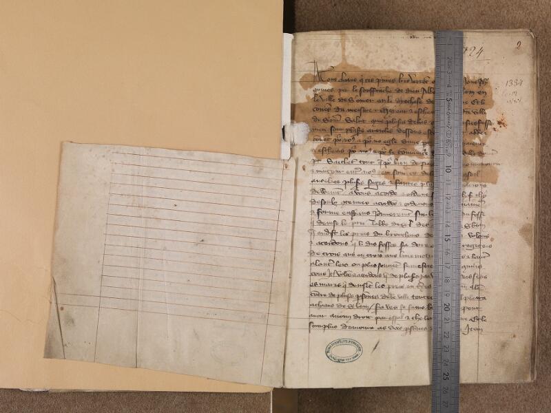 BOULOGNE-SUR-MER, Bibliothèque municipale, 0144, f. 001v - 002r avec réglet