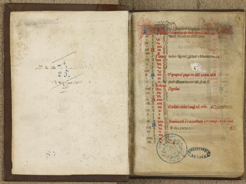 Caen, Bibl. mun., ms. 0020, f. 000Av-A f. 001- vue 2