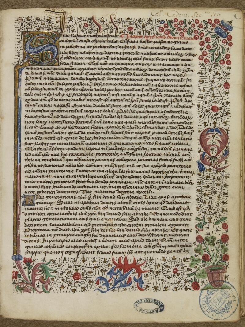 Caen, Bibl. mun., ms. 0025, f. 001- vue 2