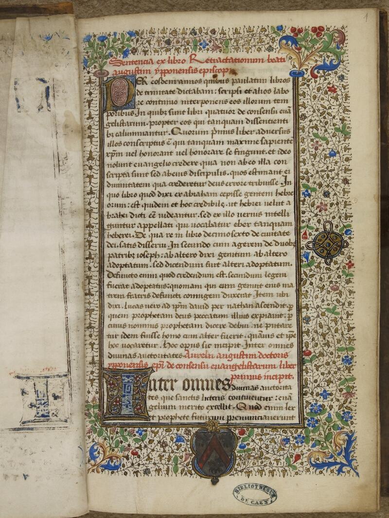 Caen, Bibl. mun., ms. 0026, f. 001 - vue 2