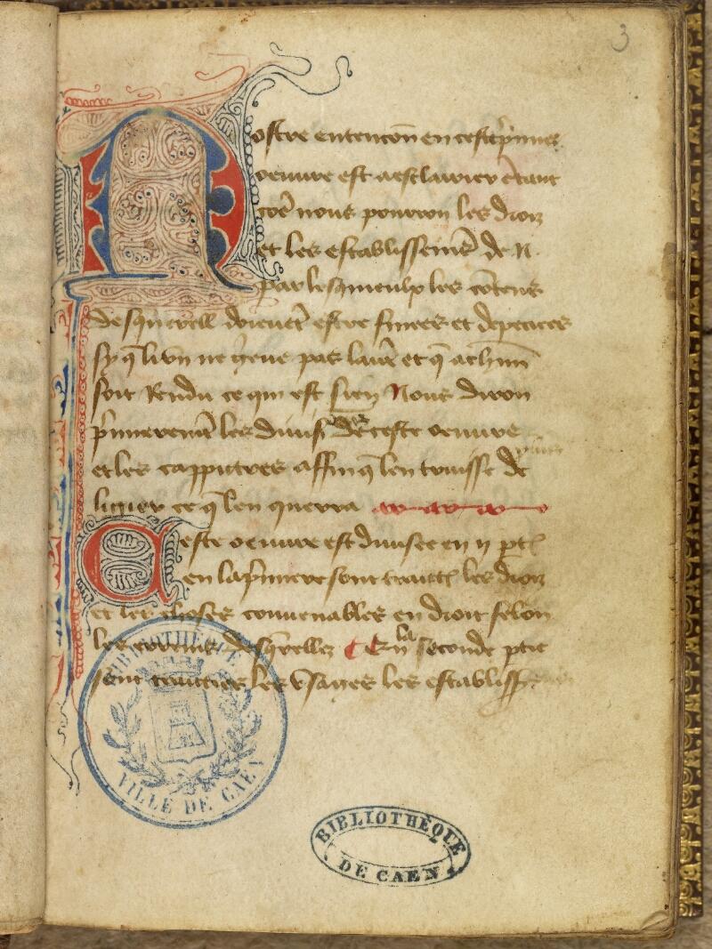 Caen, Bibl. mun., ms. 0056, f. 003 - vue 2