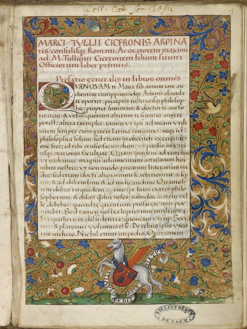Caen, Bibl. mun., ms. 0181, f. 001- vue 2