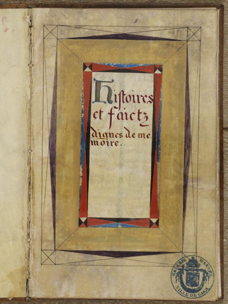Caen, Musée, Coll. Mancel ms. 0258, f. 001- vue 2
