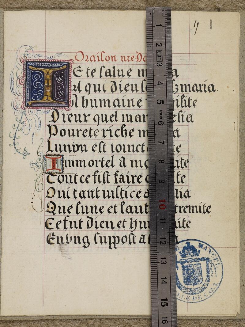 Caen, Musée, Coll. Mancel ms. 0258, f. 019 vue 1