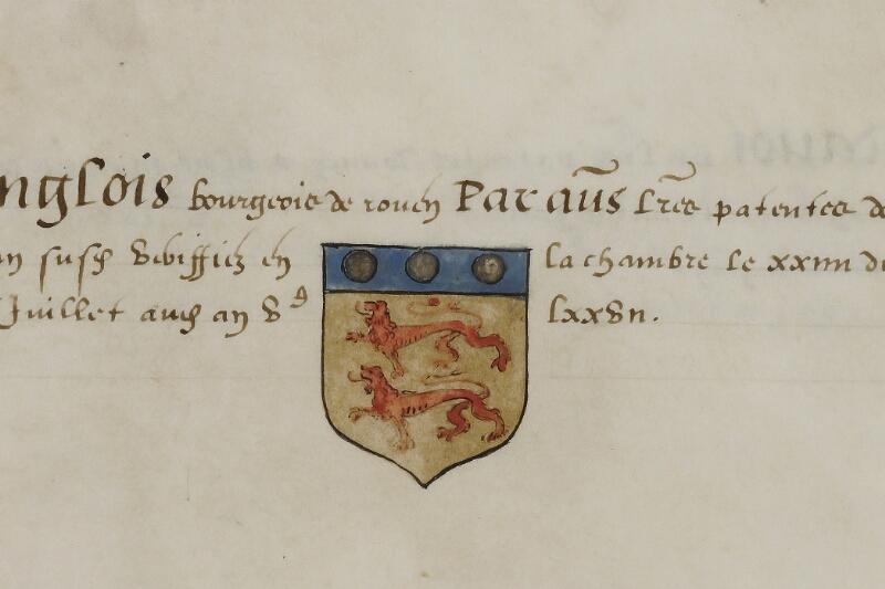 Caen, Musée, Coll. Mancel ms. 0156, f. 036 - vue 2
