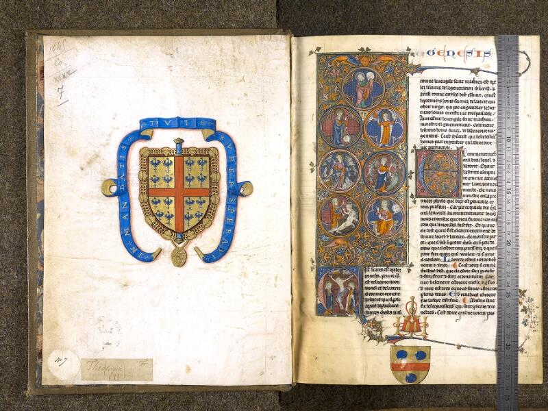 CHANTILLY, Bibliothèque du château, 0004 (1045), garde -  001 avec réglet