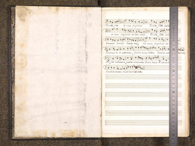 CHANTILLY, Bibliothèque du château, 0049 (1669), contregarde – f. 001 avec réglet
