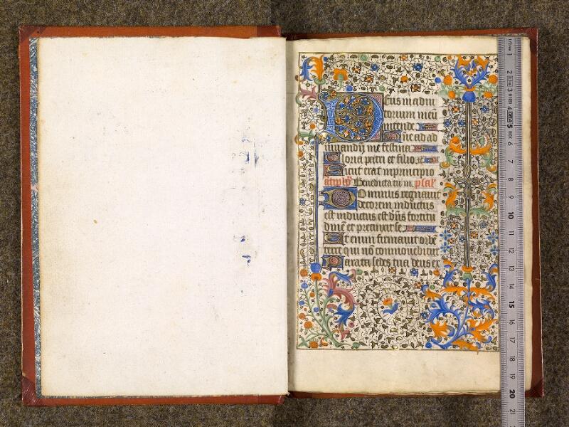 CHANTILLY, Bibliothèque du château, 0073 (1355), contregarde - f. 001 avec réglet