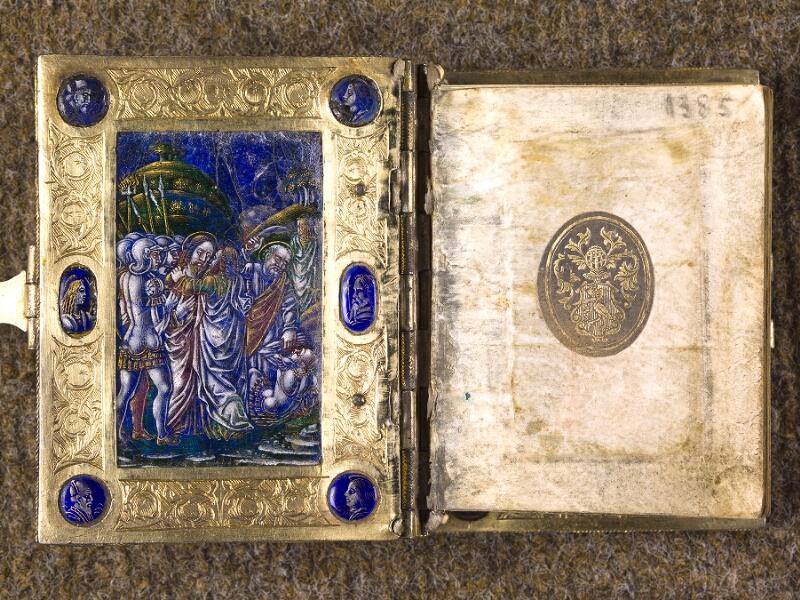 CHANTILLY, Bibliothèque du château, 0083 (1385), contreplat supérieur - garde