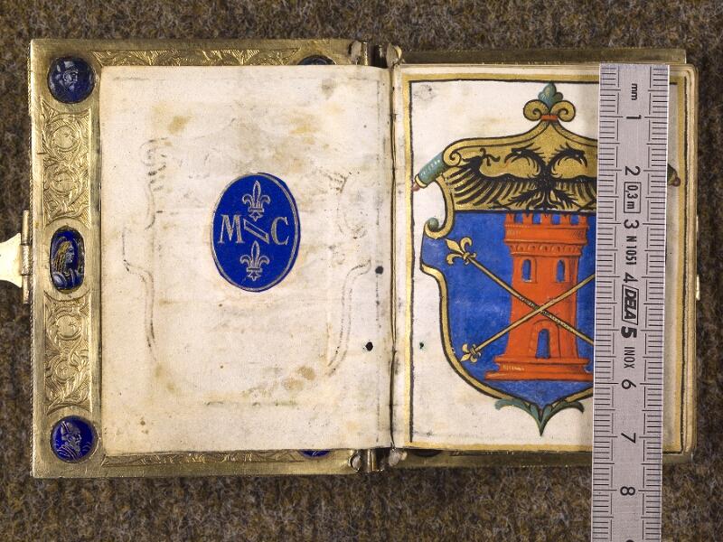 CHANTILLY, Bibliothèque du château, 0083 (1385), contregarde - f. 001 avec réglet