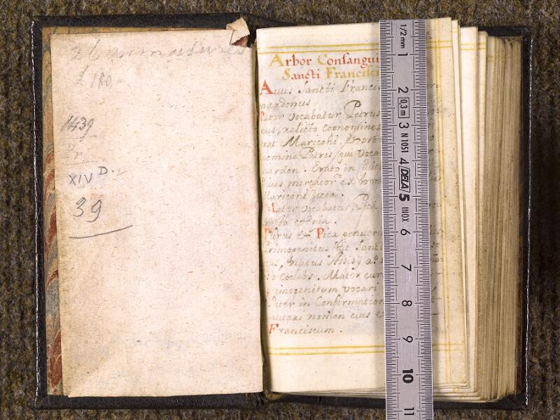 CHANTILLY, Bibliothèque du château, 0113 (1439), contregarde -  p. 005 avec réglet