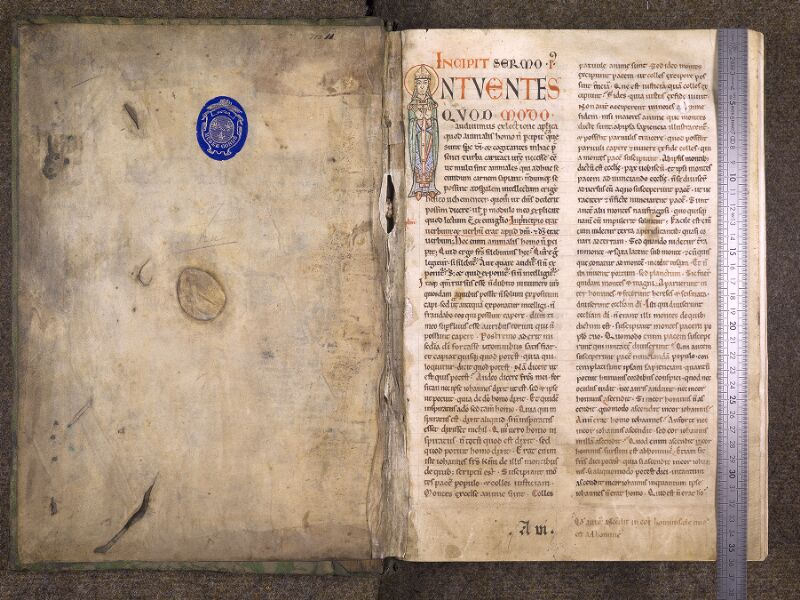 CHANTILLY, Bibliothèque du château, 0121 (0607), contreplat supérieur - f. 001 avec réglet