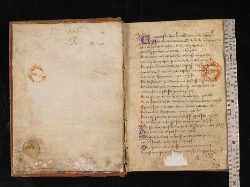 CHANTILLY, Bibliothèque du château, 0135 (0944), contregarde - f. 001 avec réglet