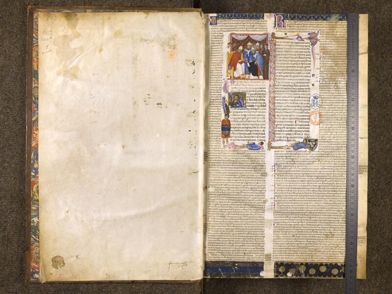 CHANTILLY, Bibliothèque du château, 0216 (0397), garde - f. 001 avec réglet