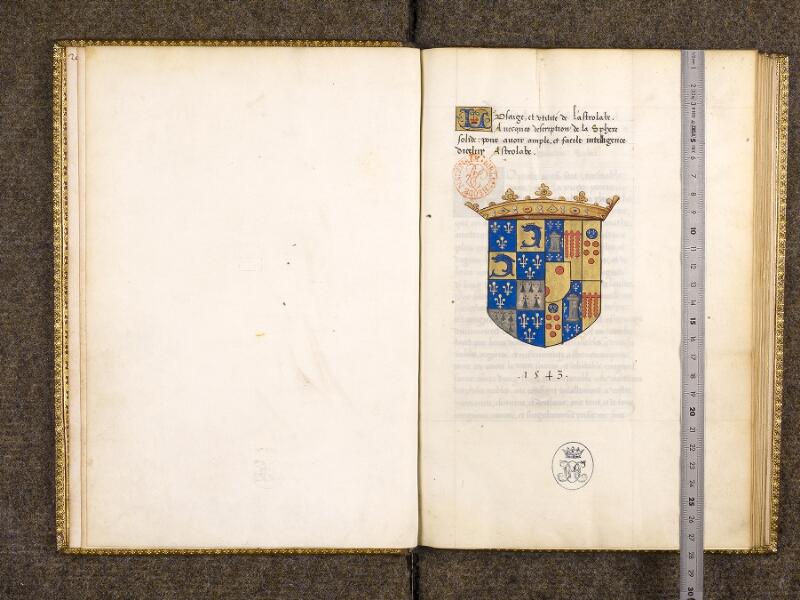CHANTILLY, Bibliothèque du château, 0323 (0704), f. 000Bv - 001 avec réglet