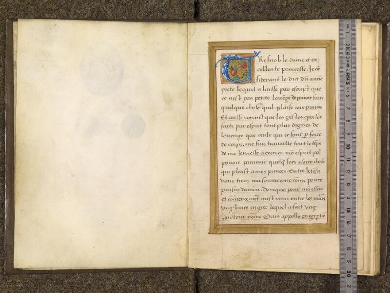 CHANTILLY, Bibliothèque du château, 0682 (1529), contregarde - f. 001 avec réglet