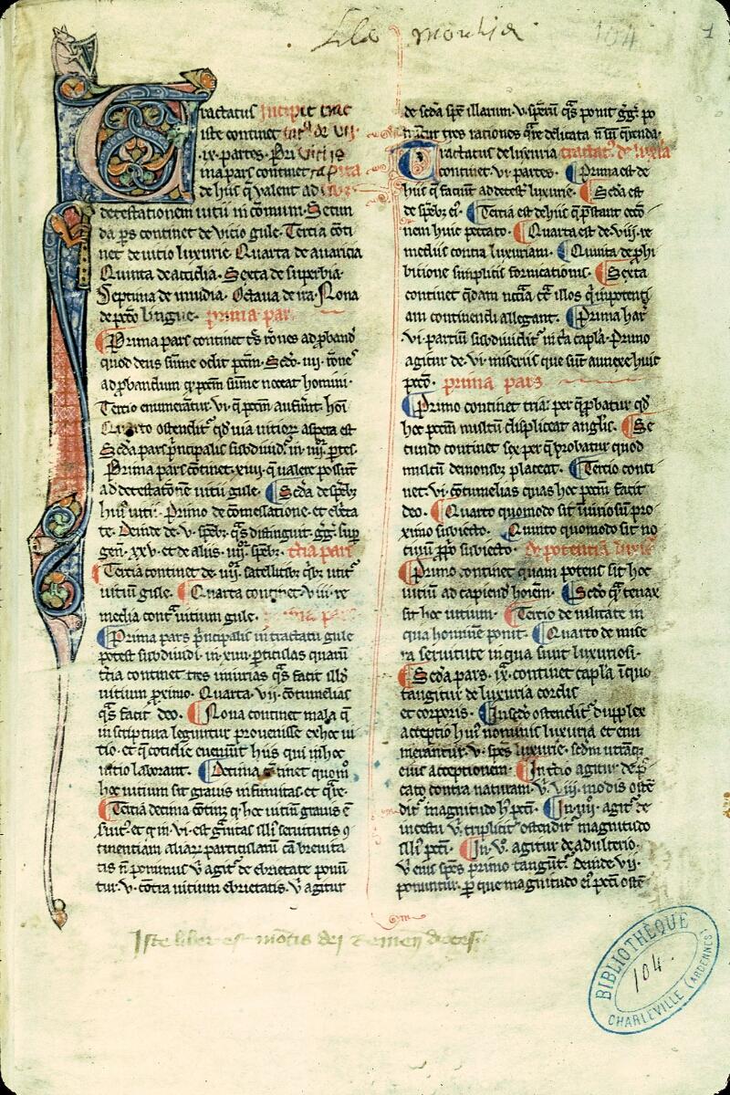 Charleville-Mézières, Bibl. mun., ms. 0104, f. 001 - vue 1