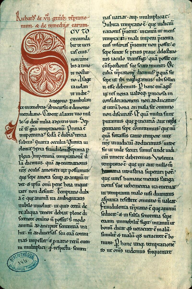 Charleville-Mézières, Bibl. mun., ms. 0184, f. 001v - vue 1