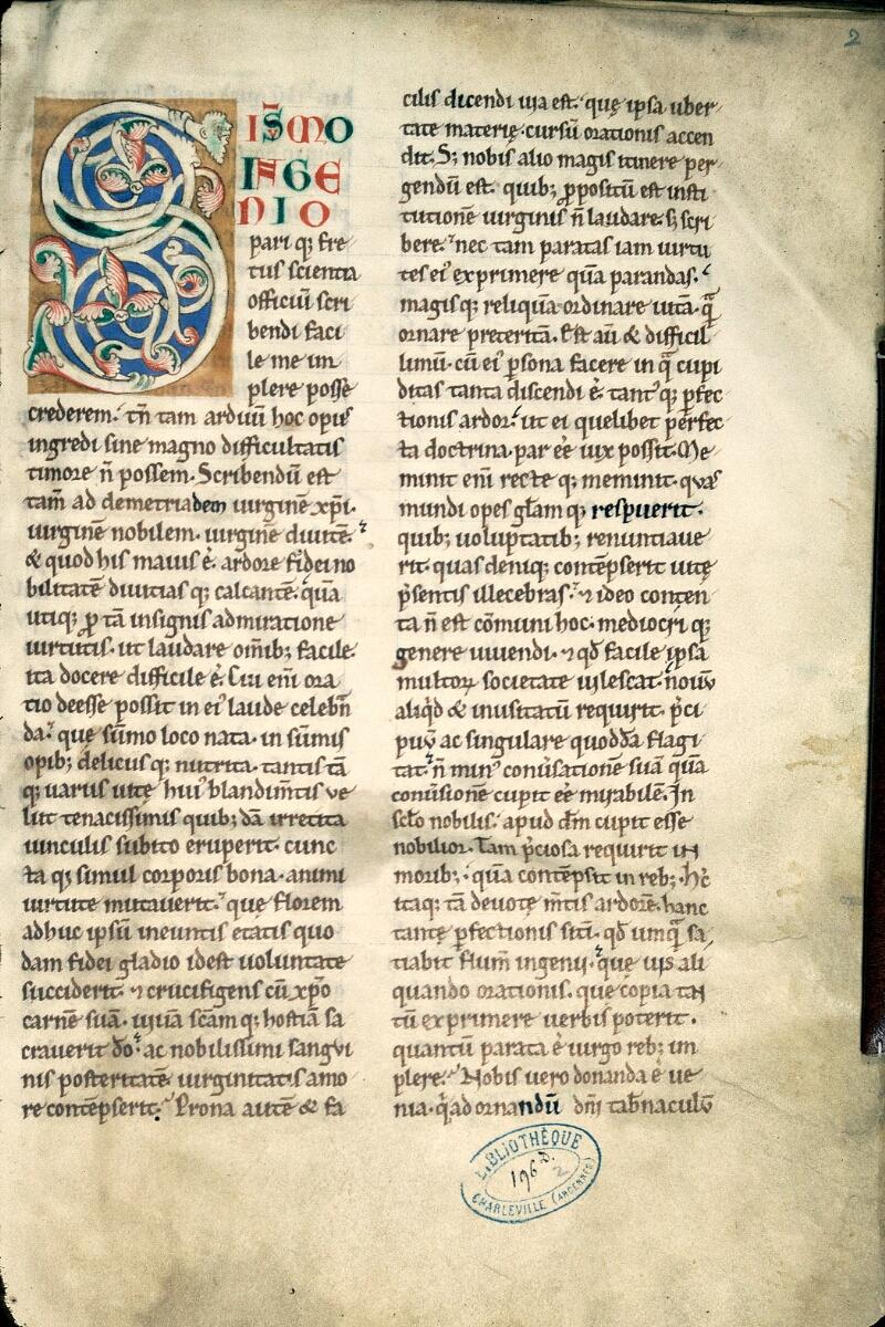 Charleville-Mézières, Bibl. mun., ms. 0196 D, t. II, f. 002 - vue 1