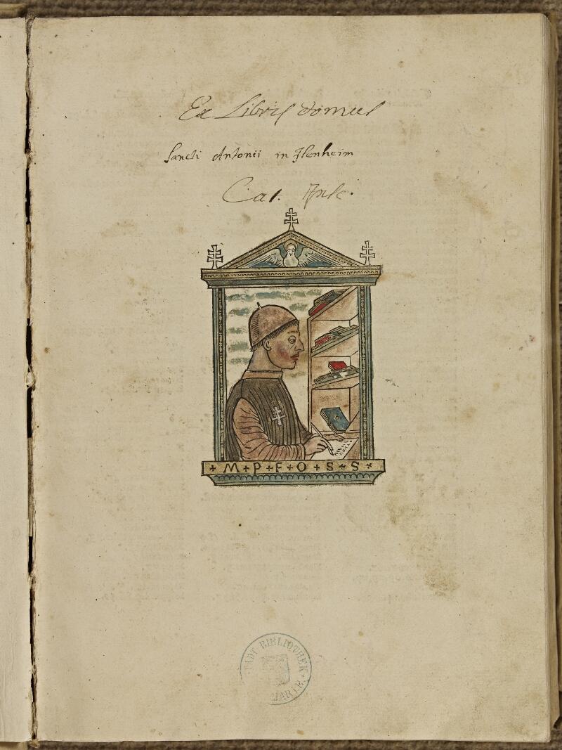 Colmar, Bibl. mun., inc. IV 8224, A f. 000I - vue 2