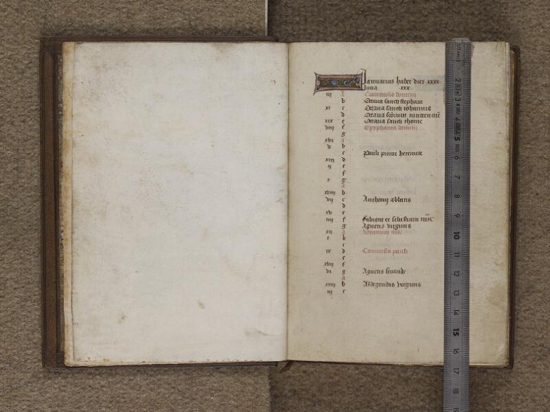 FECAMP, Musée du Palais Bénédictine, A.10.003, garde verso - f. 001 (avec réglet)