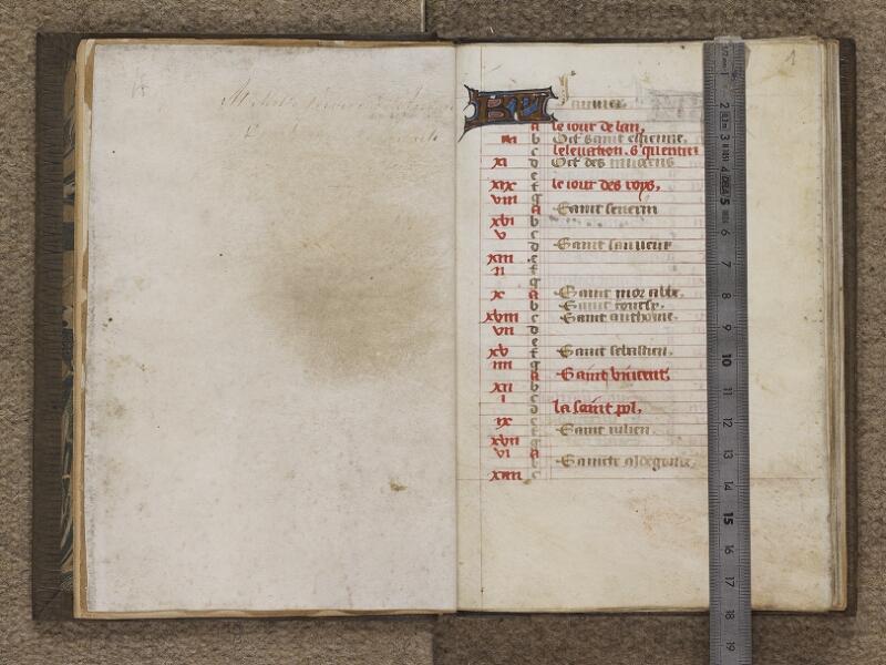 FECAMP, Musée du Palais Bénédictine, A.10.009, garde verso - f. 001 (avec réglet)