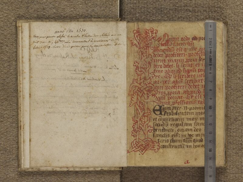 FECAMP, Musée du Palais Bénédictine, A.10.306, garde verso - f. 001 (avec réglet)