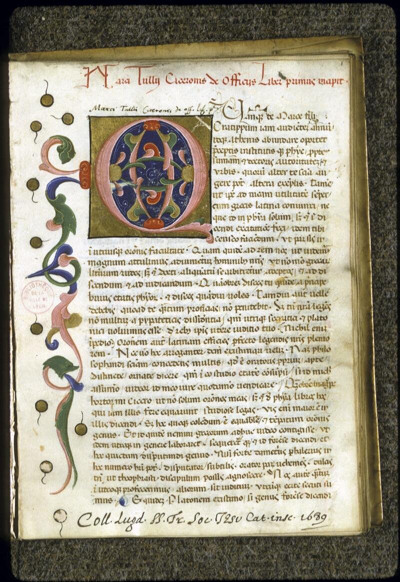 Lyon, Bibl. mun., ms. 0287, f. 001 - vue 2