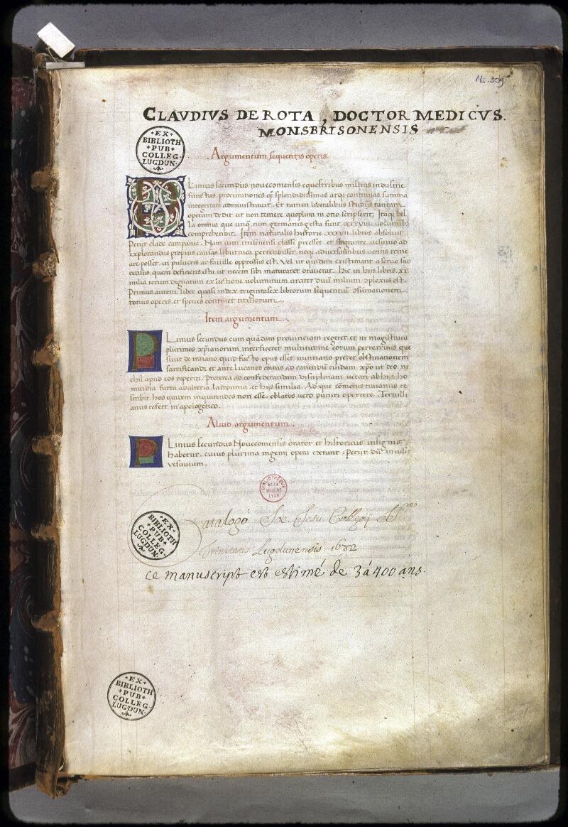Lyon, Bibl. mun., ms. 0309, f. 000I