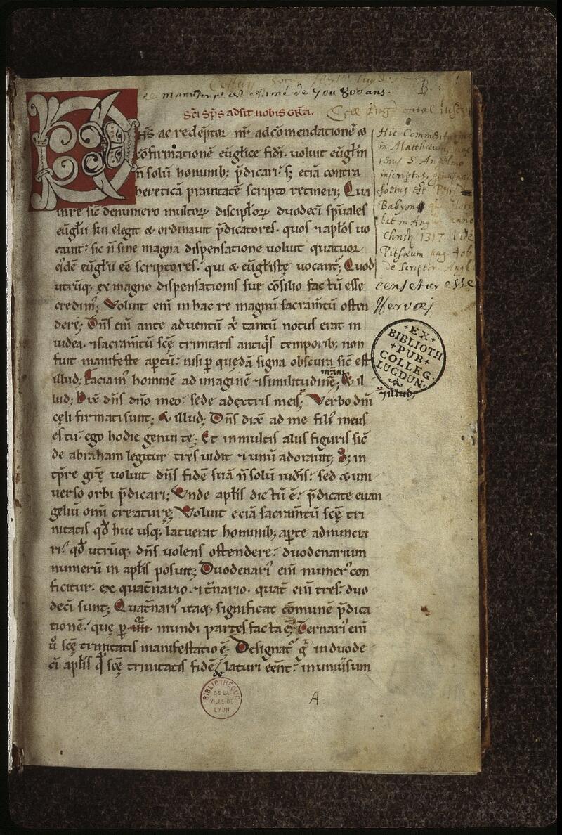 Lyon, Bibl. mun., ms. 0480, f. 001 - vue 2