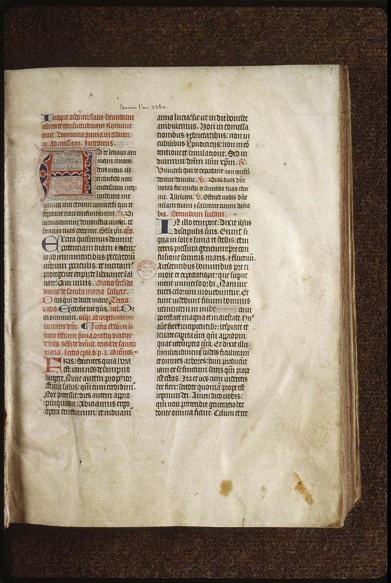 Lyon, Bibl. mun., ms. 0520, f. 001 - vue 2