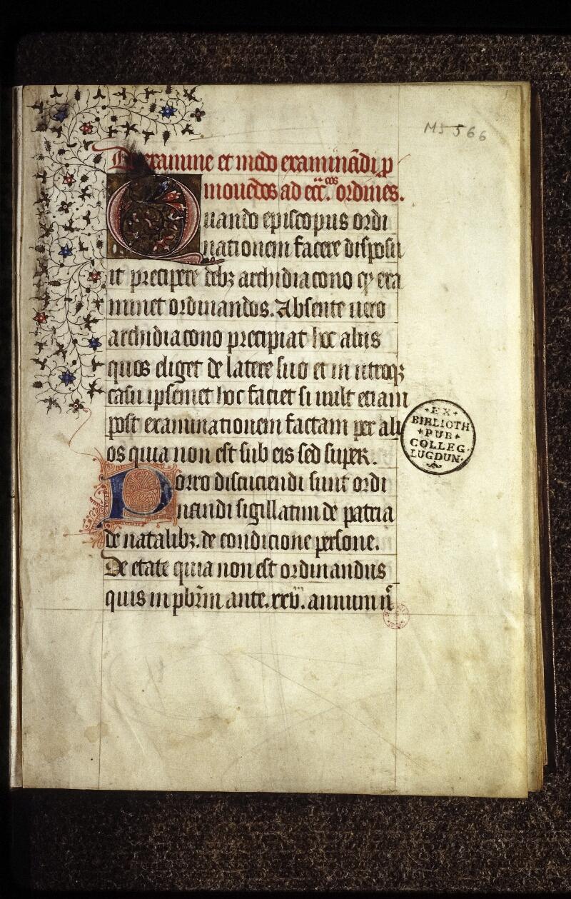 Lyon, Bibl. mun., ms. 0566, f. 001 - vue 2