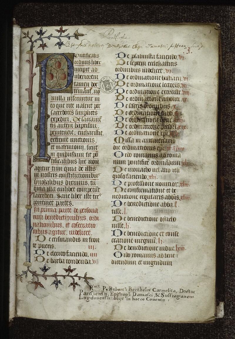 Lyon, Bibl. mun., ms. 0568, f. 001 - vue 2