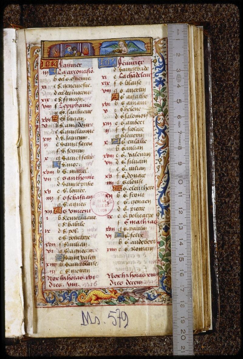 Lyon, Bibl. mun., ms. 0579, f. 001 - vue 1