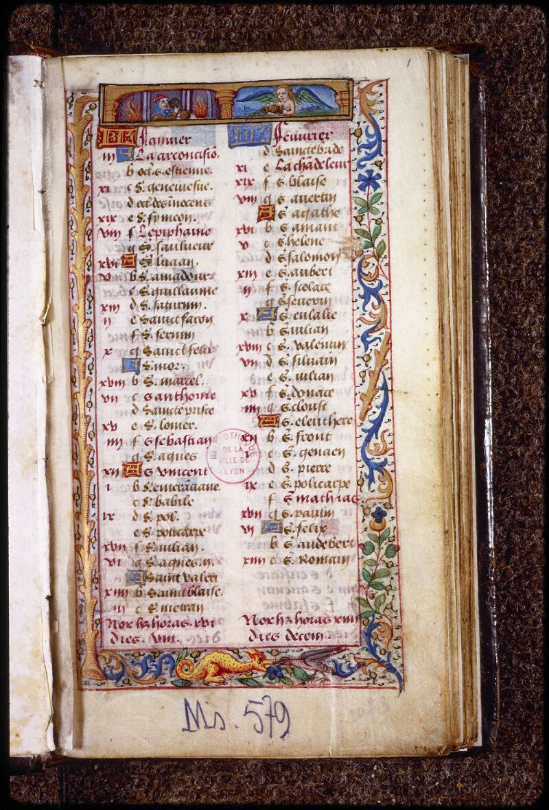 Lyon, Bibl. mun., ms. 0579, f. 001 - vue 2