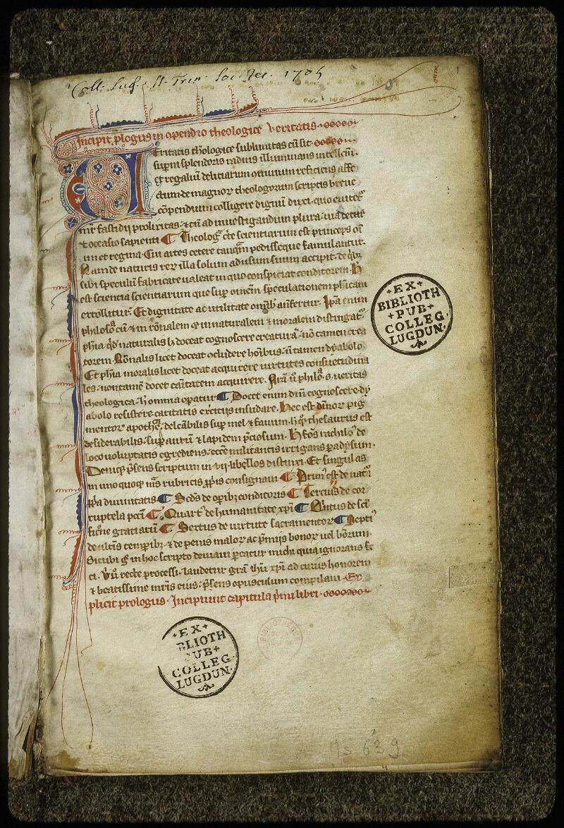 Lyon, Bibl. mun., ms. 0639, f. 001 - vue 2