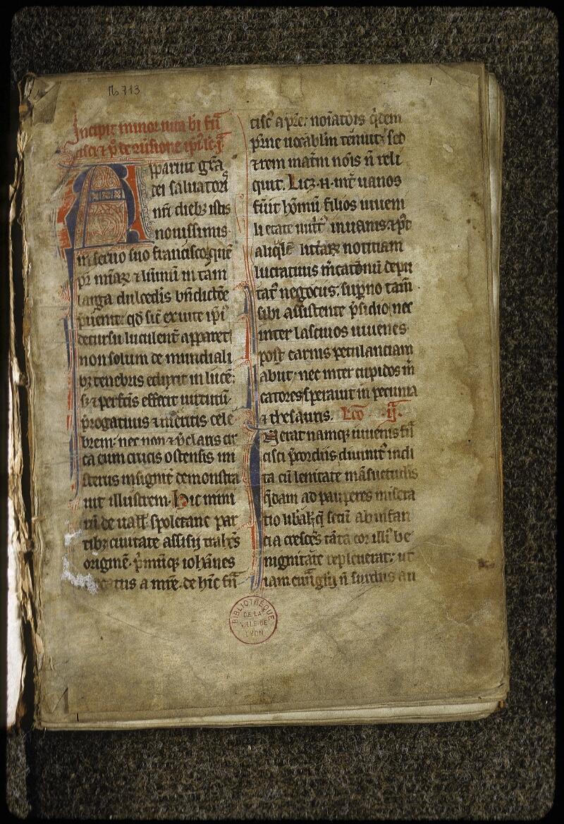 Lyon, Bibl. mun., ms. 0713, f. 001 - vue 2