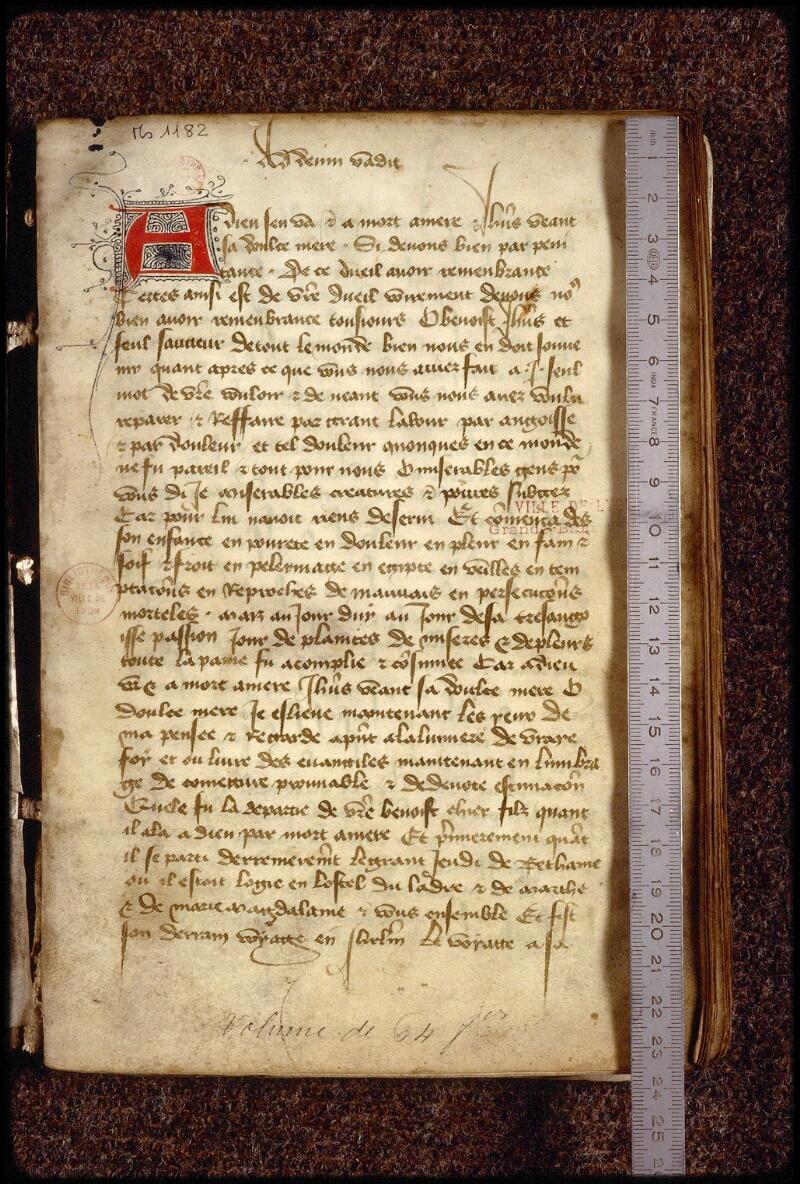 Lyon, Bibl. mun., ms. 1182, f. 001 - vue 1