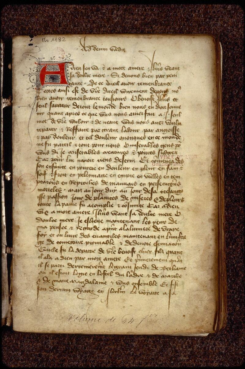 Lyon, Bibl. mun., ms. 1182, f. 001 - vue 2