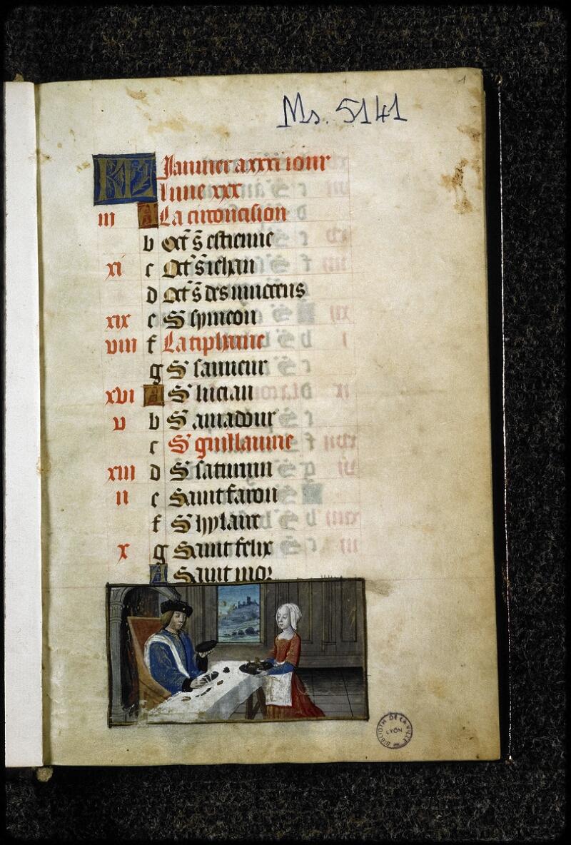 Lyon, Bibl. mun., ms. 5141, f. 001 - vue 2