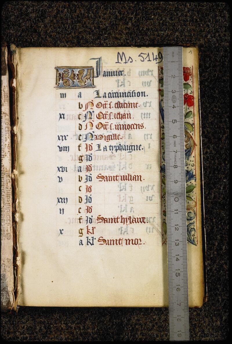 Lyon, Bibl. mun., ms. 5149, f. 001 - vue 1